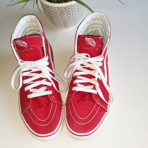 Vans Red Canvas Skate Shoes Sneakers Size 9